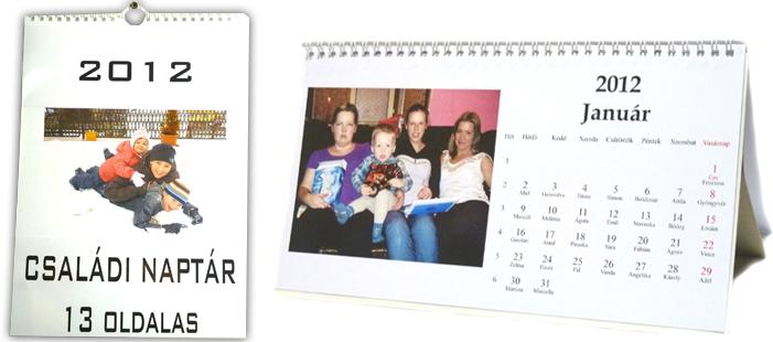 fényképes egyedi naptár