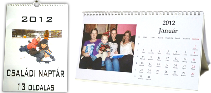 egyedi naptár